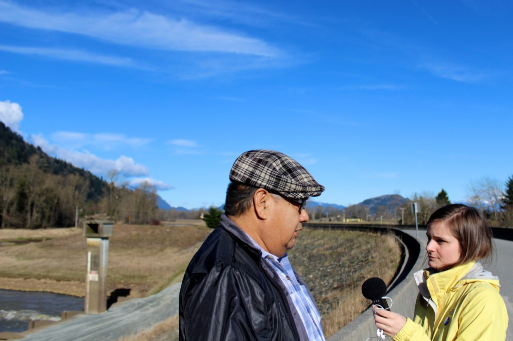 UBC Journalism student Emma Smith interviews former Sumas First Nation chief Lester Ned. Credit: Katelyn Verstraten